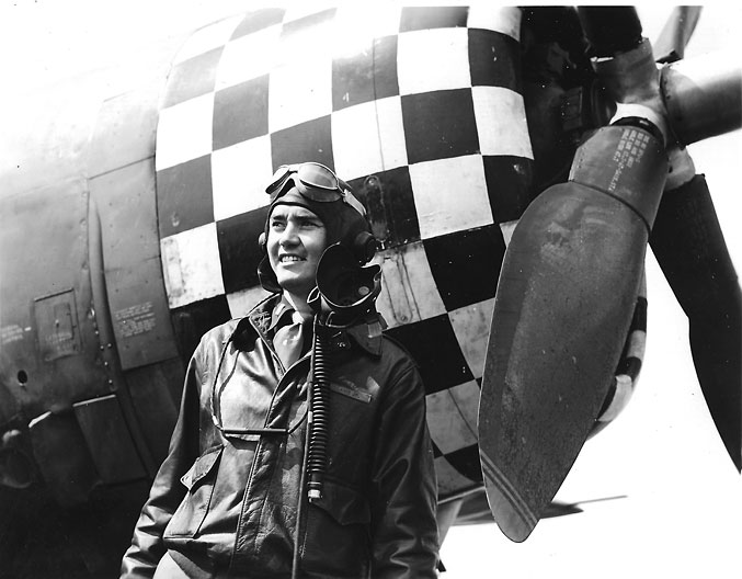 Huie Lamb and his P-47 at Duxford Air Base in 1944